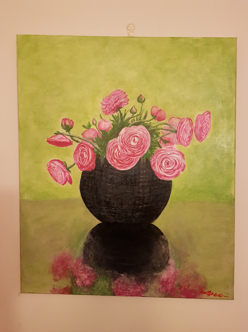 (CreativeWork) Black vase with pink flowers by sreeraj manapurathu sreedharan. acrylic-painting. Shop online at Bluethumb.