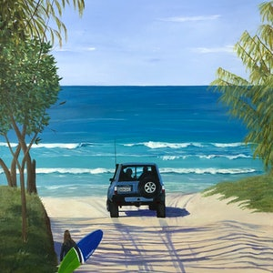 (CreativeWork) Hello beach! by Kylie Genrich. Acrylic Paint. Shop online at Bluethumb.