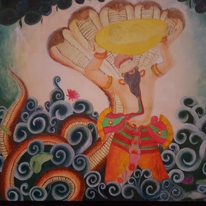 (CreativeWork) Mythical character by sreeraj manapurathu sreedharan. arcylic-painting. Shop online at Bluethumb.