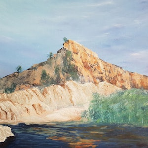 (CreativeWork) Rock Face - landscape by Donna Lewis. acrylic-painting. Shop online at Bluethumb.