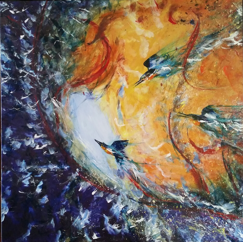 (CreativeWork) Kingfishers limited edition print 3 of 100 by Debra Dougherty. mixed-media. Shop online at Bluethumb.