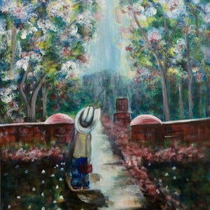 (CreativeWork) A New Road (Tolkein) by Louise Croese. arcylic-painting. Shop online at Bluethumb.