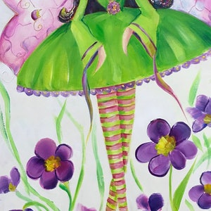 (CreativeWork) The flower fairy by Ivana Pinaffo. arcylic-painting. Shop online at Bluethumb.