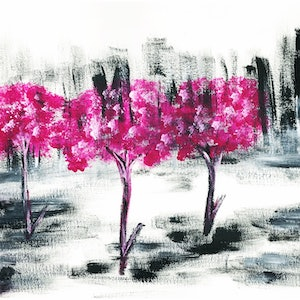 (CreativeWork) Beauty of Magenta by Ria Rushin Joseph. acrylic-painting. Shop online at Bluethumb.