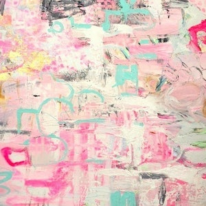 (CreativeWork) 'In the Pink' by LOU SHELDON. mixed-media. Shop online at Bluethumb.