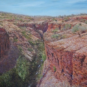 (CreativeWork) Karijini Dreaming by Henry Wood. oil-painting. Shop online at Bluethumb.