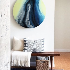 """(CreativeWork) Round Blue Painting-""""High tide"""" by Petra Meikle de Vlas. resin. Shop online at Bluethumb."""