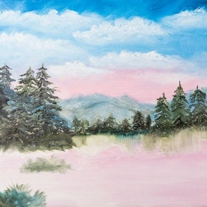 (CreativeWork) pink landscape by Agnes Pupler. oil-painting. Shop online at Bluethumb.