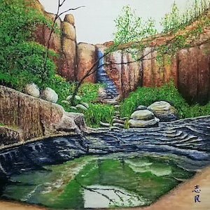 (CreativeWork) Waterhole (Warrumbungle, New South Wales)  by Chih Chan. arcylic-painting. Shop online at Bluethumb.