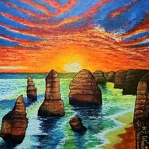 (CreativeWork) Twelve Apostles, Victoria by Chih Chan. arcylic-painting. Shop online at Bluethumb.