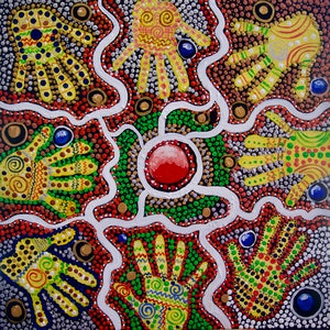 (CreativeWork) 2019 NAIDOC ,VOICE. TREATY. TRUTH. by Cynthia Farr. arcylic-painting. Shop online at Bluethumb.