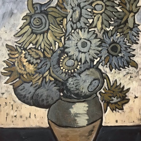 (CreativeWork) Sunflowers in Blue and Grey by Leon Fernandes. Oil Paint. Shop online at Bluethumb.