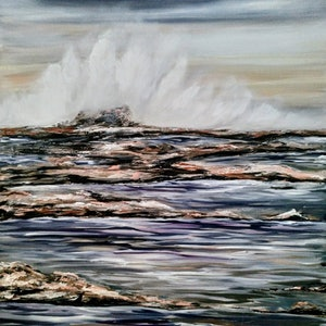 (CreativeWork) Rockpools by Amanda Skye. arcylic-painting. Shop online at Bluethumb.