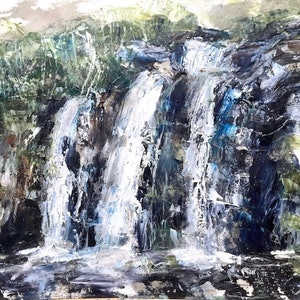 (CreativeWork) Pencil Falls by Tiffany Blaise. oil-painting. Shop online at Bluethumb.