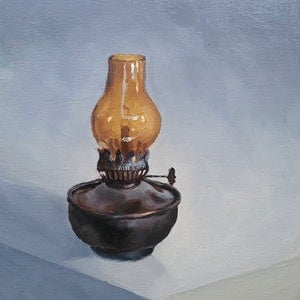 (CreativeWork) Oil Lamp by Jemma Cakebread. oil-painting. Shop online at Bluethumb.