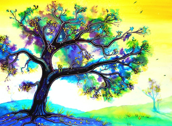 (CreativeWork) Tranquility Tree (Framed) by Linda Callaghan. Mixed Media. Shop online at Bluethumb.