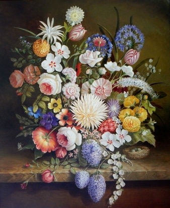 """(CreativeWork) """"The giant dahlia and other flowers with some fruit and a birds nest"""" - Framed ready to hang by Jos Kivits. Oil Paint. Shop online at Bluethumb."""