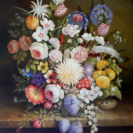 "(CreativeWork) ""The giant dahlia and other flowers with some fruit and a birds nest"" - Framed ready to hang by Jos Kivits. Oil Paint. Shop online at Bluethumb."