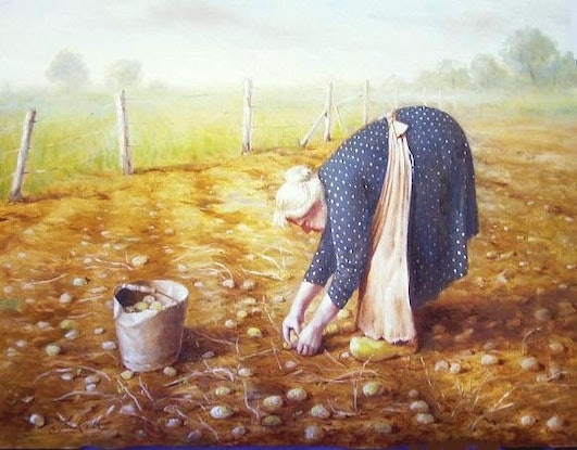 """(CreativeWork) """"Old lady in potato patch"""" - Framed ready to hang by Jos Kivits. Oil Paint. Shop online at Bluethumb."""
