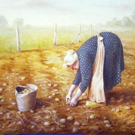 "(CreativeWork) ""Old lady in potato patch"" - Framed ready to hang by Jos Kivits. Oil Paint. Shop online at Bluethumb."