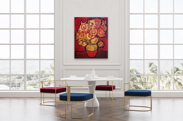 (CreativeWork) Red Sunflowers by Leon Fernandes. Oil Paint. Shop online at Bluethumb.
