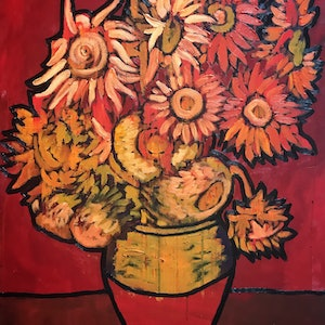 (CreativeWork) Red Sunflowers by Leon Fernandes. oil-painting. Shop online at Bluethumb.