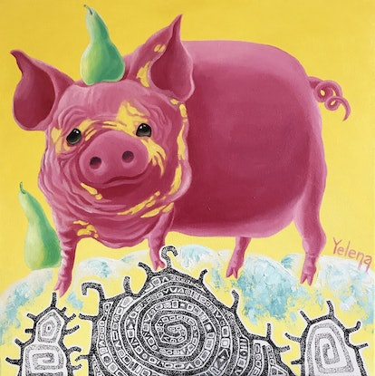 (CreativeWork) Year of the Pig - original whimsical painting Chinese horoscope 2019 by Yelena Revis. Mixed Media. Shop online at Bluethumb.