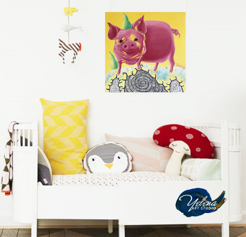 (CreativeWork) Year of the Pig - original whimsical painting Chinese horoscope 2019 by Yelena Revis. mixed-media. Shop online at Bluethumb.