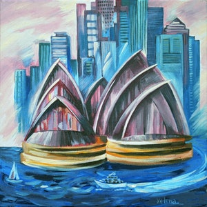 (CreativeWork) Sydney Harbour - original painting of the famous Sydney landmarks by Yelena Revis. arcylic-painting. Shop online at Bluethumb.