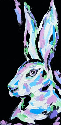 (CreativeWork) Pastel Hare by Lisa Fahey. Acrylic Paint. Shop online at Bluethumb.