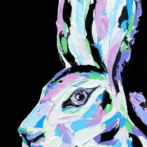 (CreativeWork) Pastel Hare by Lisa Fahey. arcylic-painting. Shop online at Bluethumb.