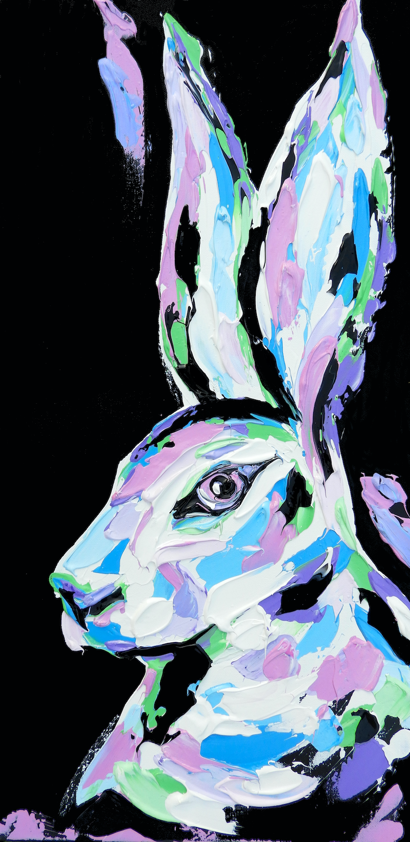 (CreativeWork) Pastel Hare by Lisa Fahey. acrylic-painting. Shop online at Bluethumb.