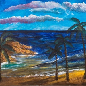 (CreativeWork) ocean by Agnes Pupler. oil-painting. Shop online at Bluethumb.