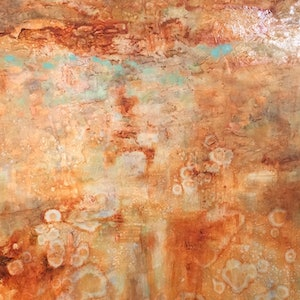 (CreativeWork) Red desert rain by sue bannister. oil-painting. Shop online at Bluethumb.