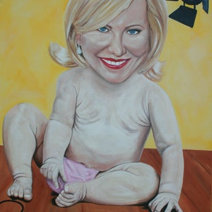 (CreativeWork) The Curious Case of Kerri-Anne Kennerley by Lyndsey Hatchwell. arcylic-painting. Shop online at Bluethumb.