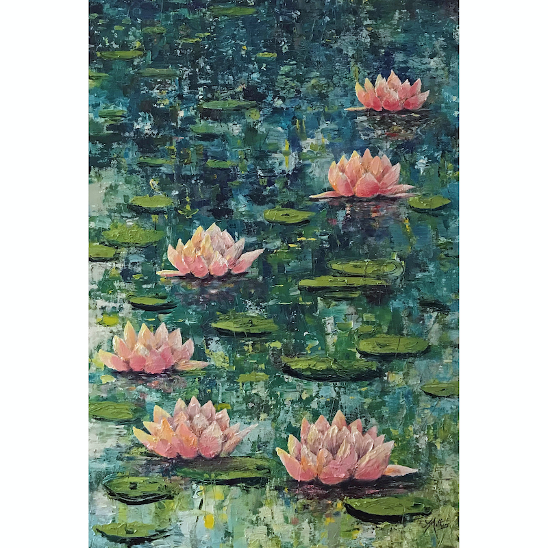(CreativeWork) lily pond by Jane Mathers. oil-painting. Shop online at Bluethumb.