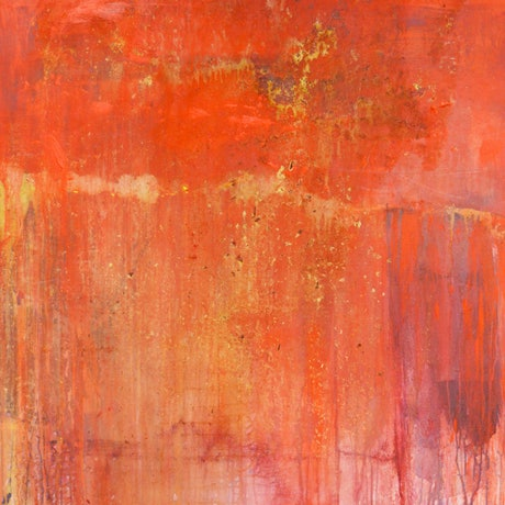 (CreativeWork)  Wallmatter  3   (Framed) Large abstract painting, professionally framed, orange, pink, texture, urban. Acrylic & shellac by Jenny Davis. Mixed Media. Shop online at Bluethumb.