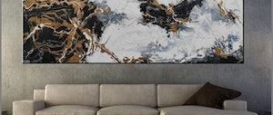 (CreativeWork) Held For Ransom  270cm x 120cm  Gold Black white grey bling Abstract Gloss Finish FRANKO  by _Franko _. arcylic-painting. Shop online at Bluethumb.