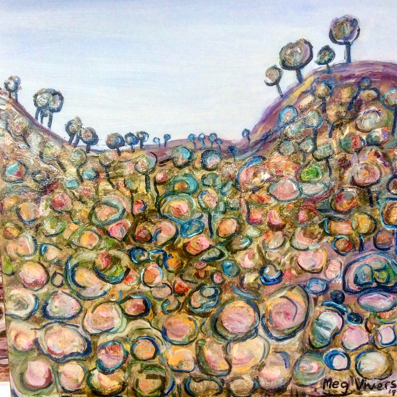 (CreativeWork) Rock Slide by Meg Vivers. oil-painting. Shop online at Bluethumb.