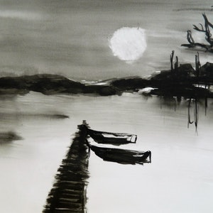 (CreativeWork) Moonlight canoes by Sophia Papp. other-media. Shop online at Bluethumb.