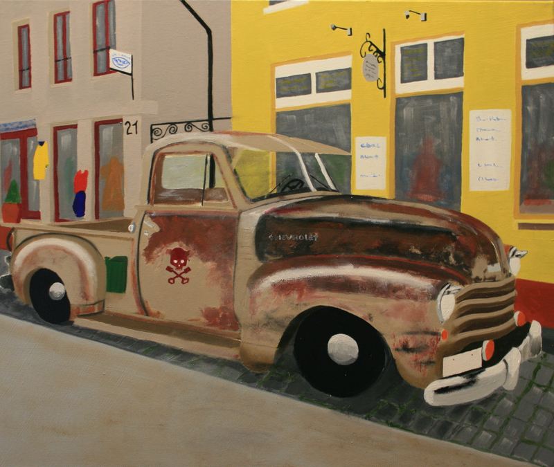 (CreativeWork) Drove my Chevy to the levee but the levee was dry by Paul Cox. oil-painting. Shop online at Bluethumb.