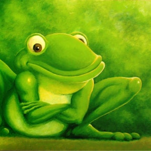 (CreativeWork) Portrait of a Frog by Graham Davidson. acrylic-painting. Shop online at Bluethumb.