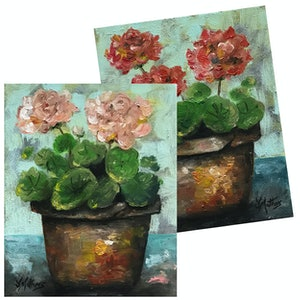 (CreativeWork) geranium pots by Jane Mathers. oil-painting. Shop online at Bluethumb.