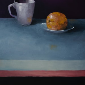 (CreativeWork) Cup with Orange and plate by Damien Venditti. oil-painting. Shop online at Bluethumb.