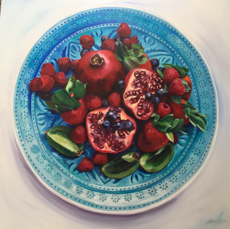 (CreativeWork) Berried Treasure  by Mia Laing. oil-painting. Shop online at Bluethumb.