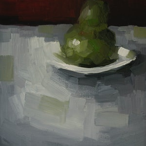 (CreativeWork) Pear with plate No2.   by Damien Venditti. oil-painting. Shop online at Bluethumb.