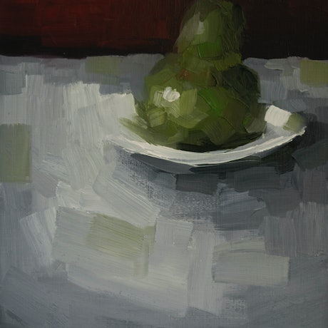 (CreativeWork) Pear with plate No2.   by Damien Venditti. Oil Paint. Shop online at Bluethumb.