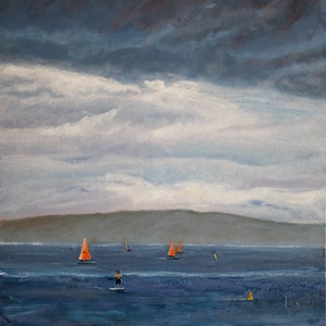 (CreativeWork) Home before the storm, Balmoral Beach, Sydney by fiona smith. oil-painting. Shop online at Bluethumb.