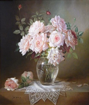 """(CreativeWork) 'Roses in a glass vase on a crochet doily"""" - Framed ready to hang by Jos Kivits. Oil Paint. Shop online at Bluethumb."""