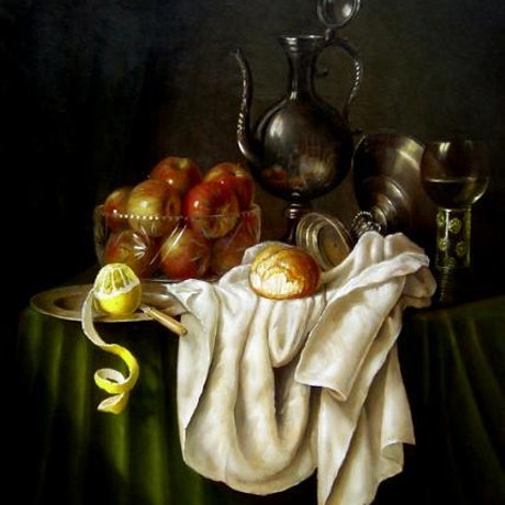 """(CreativeWork) """"Apples in crystal bowl, pewter, roemer, white cloth & a peeled lemon"""" - Framed ready to hang by Jos Kivits. Oil Paint. Shop online at Bluethumb."""